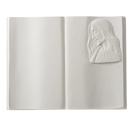 Plaque funéraire livre et Christ en marbre synthétique 1