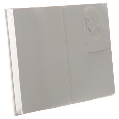 Libro targa per cimiteri marmo sintetico Cristo 2