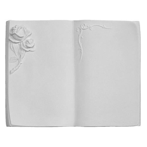 Plaque funéraire livre avec rose en marbre synthétique 1