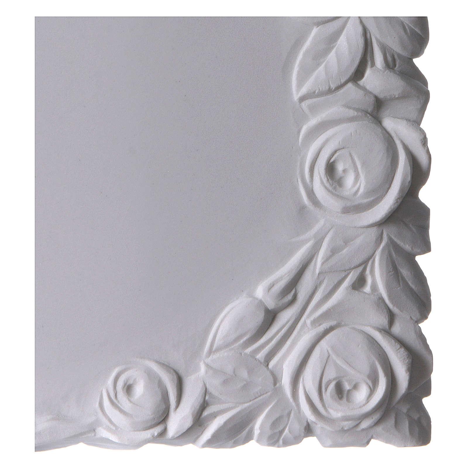Libro targa per cimiteri marmo sintetico con rose 3