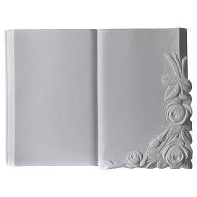 Libro targa per cimiteri marmo sintetico con rose s1