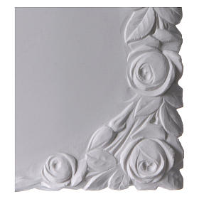 Libro targa per cimiteri marmo sintetico con rose s2