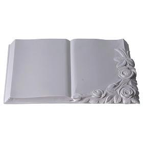 Libro targa per cimiteri marmo sintetico con rose s3