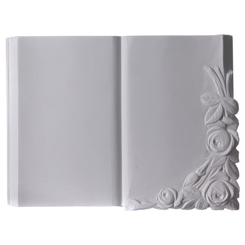 Libro targa per cimiteri marmo sintetico con rose 1