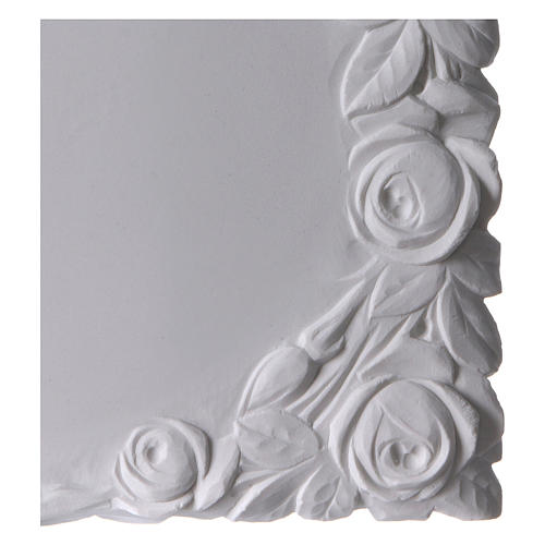 Libro targa per cimiteri marmo sintetico con rose 2