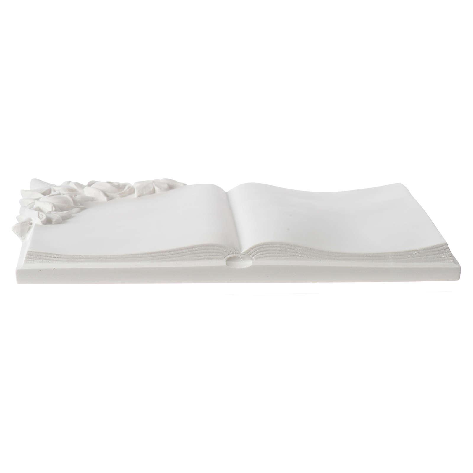 Libro targa per cimiteri marmo sintetico rose 3