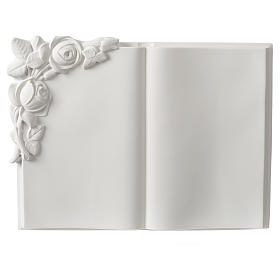 Libro targa per cimiteri marmo sintetico rose s1
