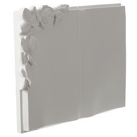 Libro targa per cimiteri marmo sintetico rose s2