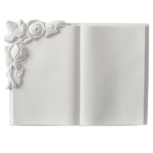 Libro targa per cimiteri marmo sintetico rose 1