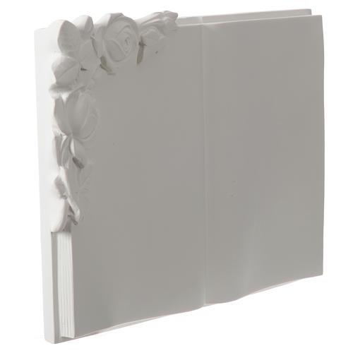 Libro targa per cimiteri marmo sintetico rose 2
