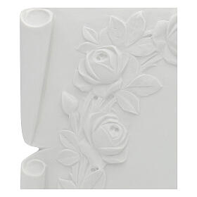 Libro targa per cimiteri marmo ricostituito rose s2