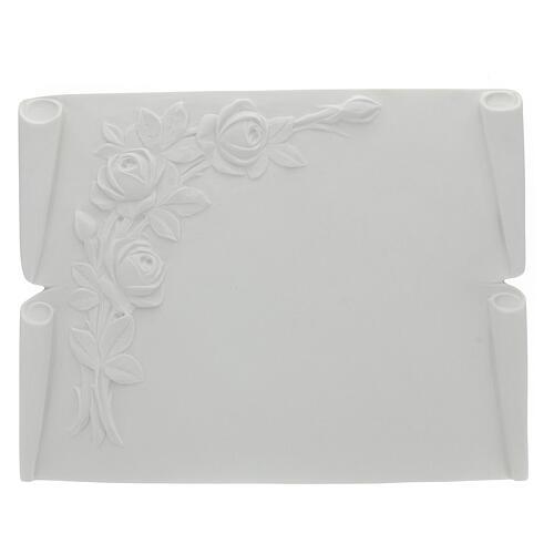 Libro targa per cimiteri marmo ricostituito rose 1