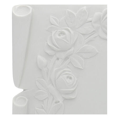 Libro targa per cimiteri marmo ricostituito rose 2