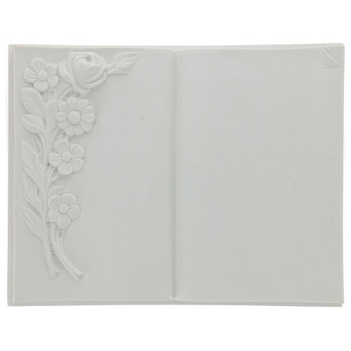 Libro targa per cimiteri marmo sintetico fiori 1