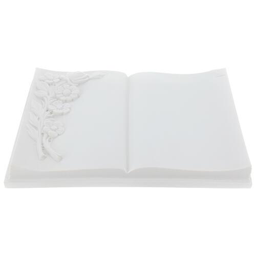 Libro targa per cimiteri marmo sintetico fiori 2