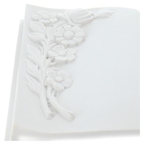 Libro targa per cimiteri marmo sintetico fiori 3
