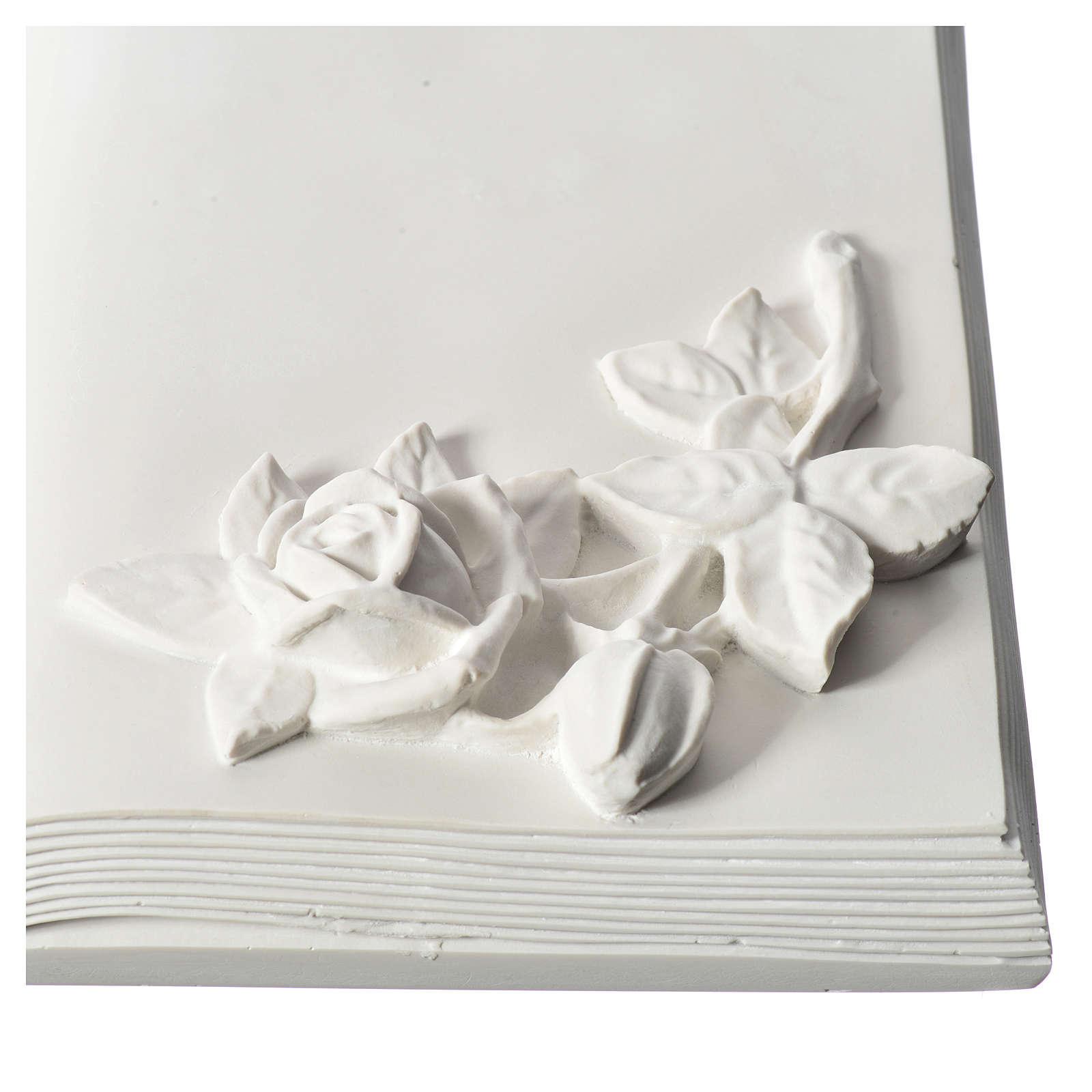 Libro targa per cimiteri marmo ricostituito con rose 3