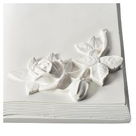 Libro targa per cimiteri marmo ricostituito con rose s2