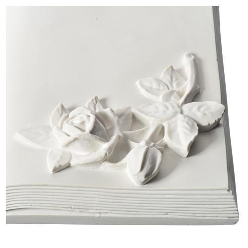Libro targa per cimiteri marmo ricostituito con rose 2
