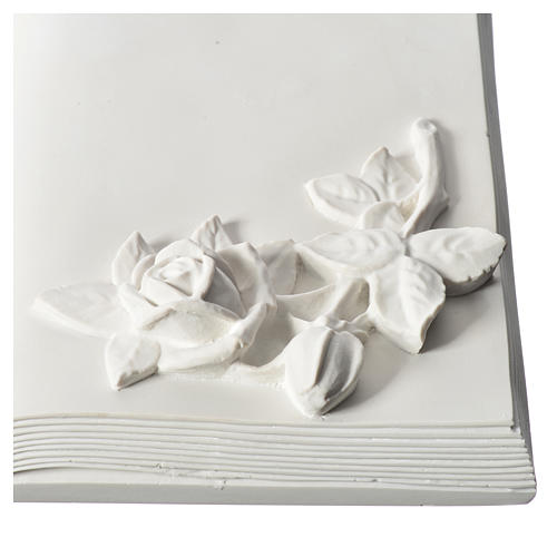 Plaque book for cemetery in reconstituted marble with roses 2