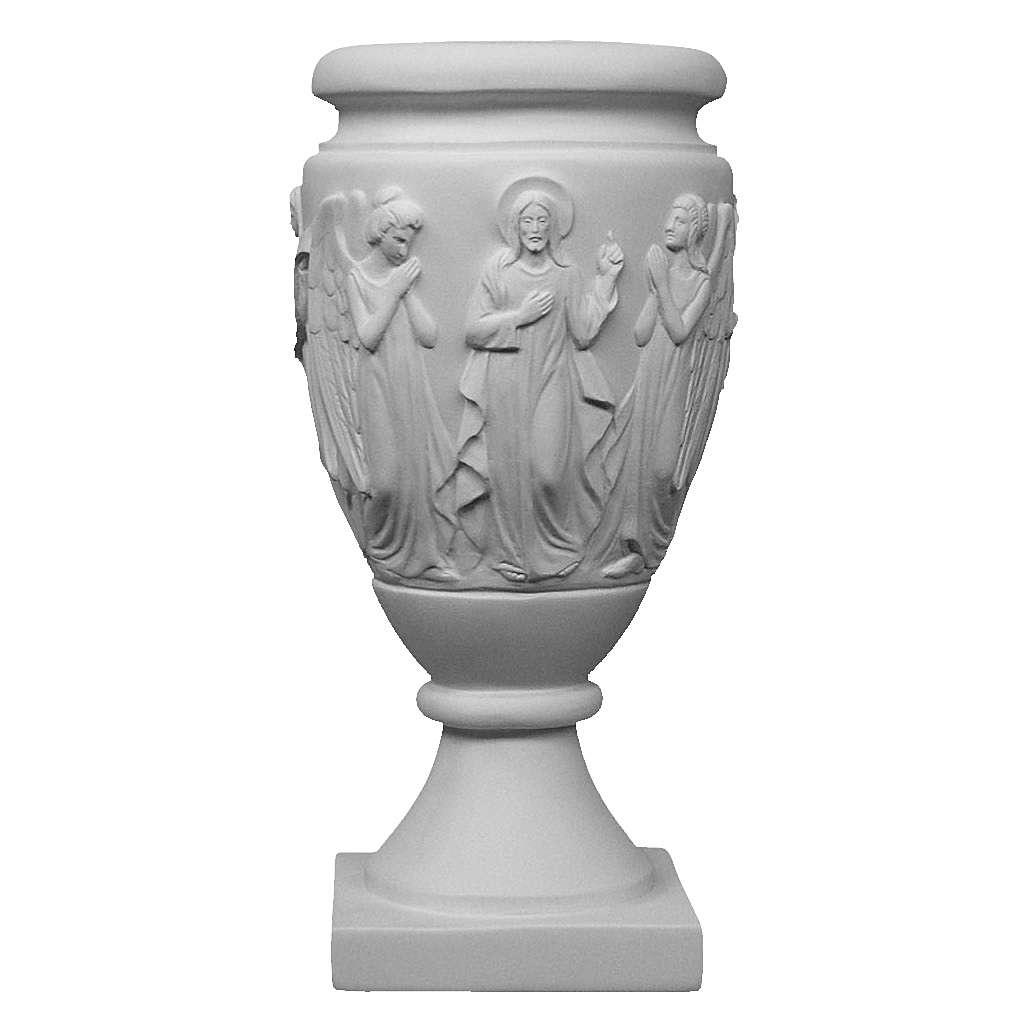Vaso portafiori marmo sintetico Angeli e Cristo 3