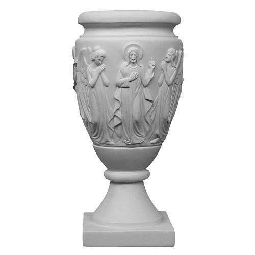 Vaso portafiori marmo sintetico Angeli e Cristo 1