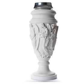 Flower vase in reconstituted marble, scene with Christ and angel s2