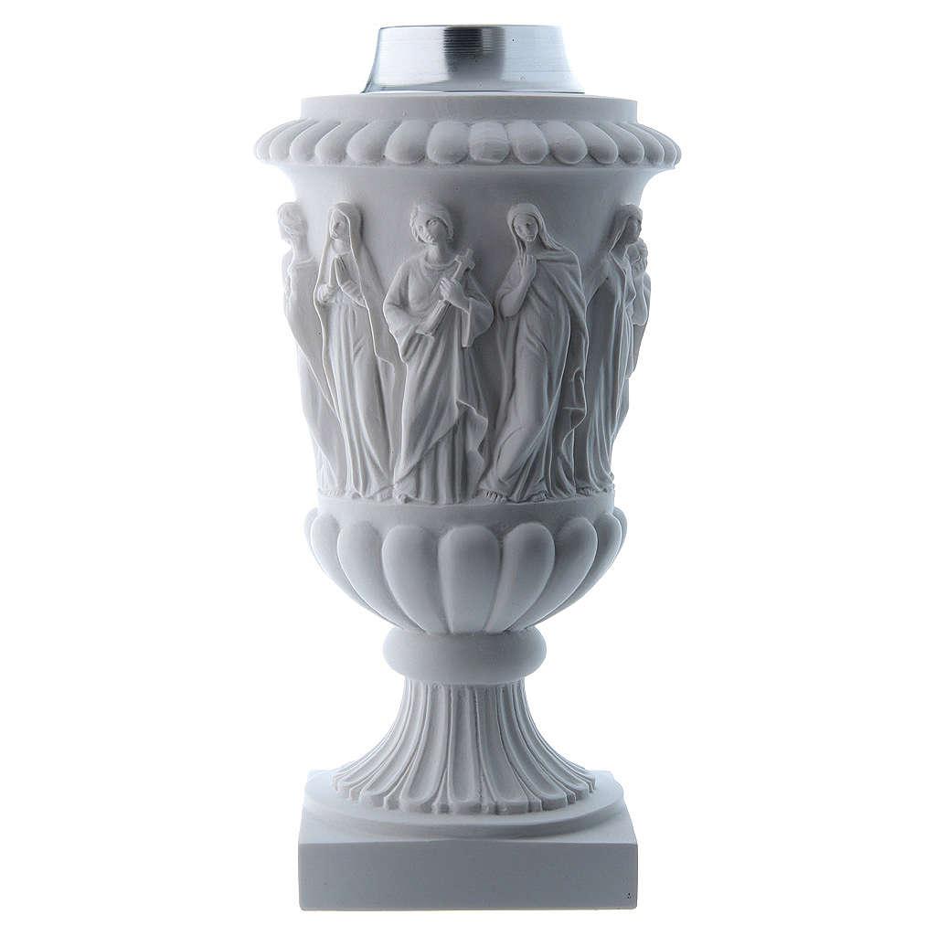 Vaso portafiori in marmo ricostituito bianco 3