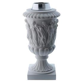 Vaso portafiori in marmo ricostituito bianco s1