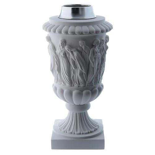 Vaso portafiori in marmo ricostituito bianco 1