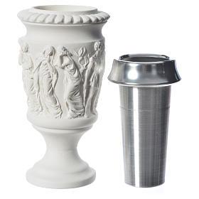 Vaso portafiori marmo sintetico scena Via Crucis s4
