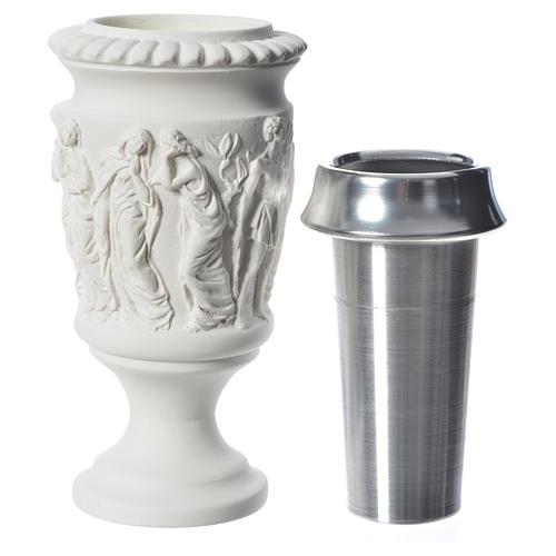 Vaso portafiori marmo sintetico scena Via Crucis 4