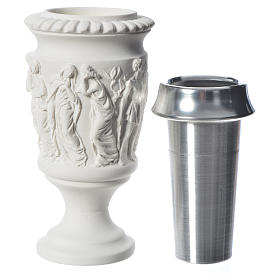 Flower vase in reconstituted marble, stations of the cross s4