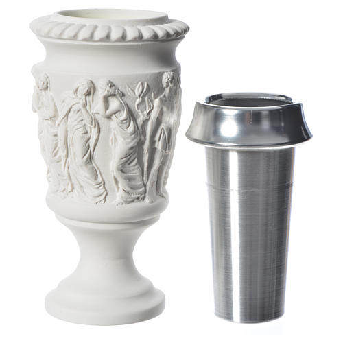 Flower vase in reconstituted marble, stations of the cross 4