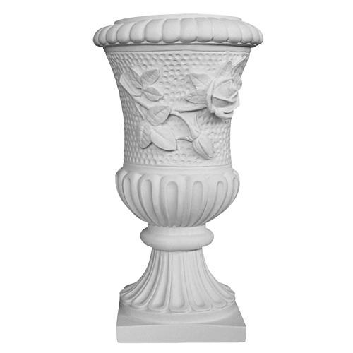 Vase sur pied pour tombe roses marbre synthétique 1