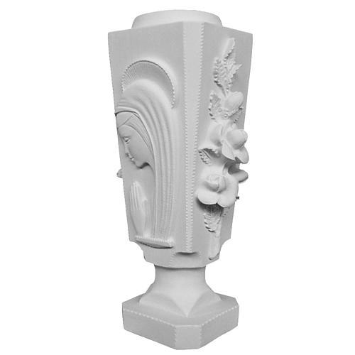 Vase carré pour tombe roses et Vierge marbre reconstitué 1