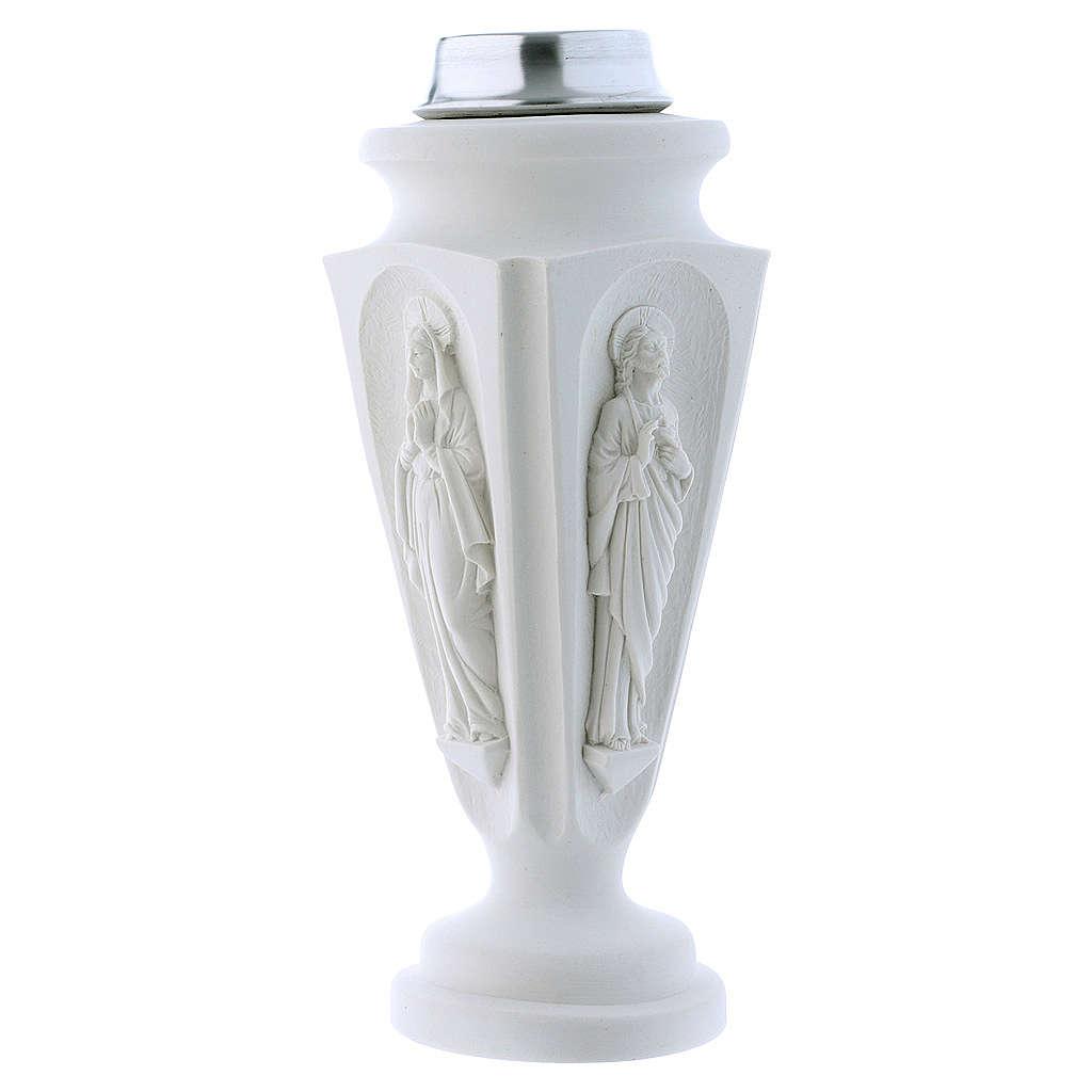Búcaro Jarrón mármol reconstituido Virgen María Jesús 3