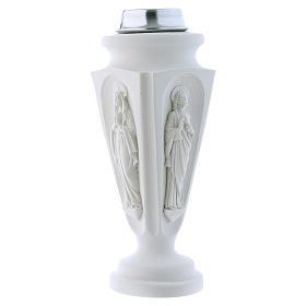 Búcaro Jarrón mármol reconstituido Virgen María Jesús s1