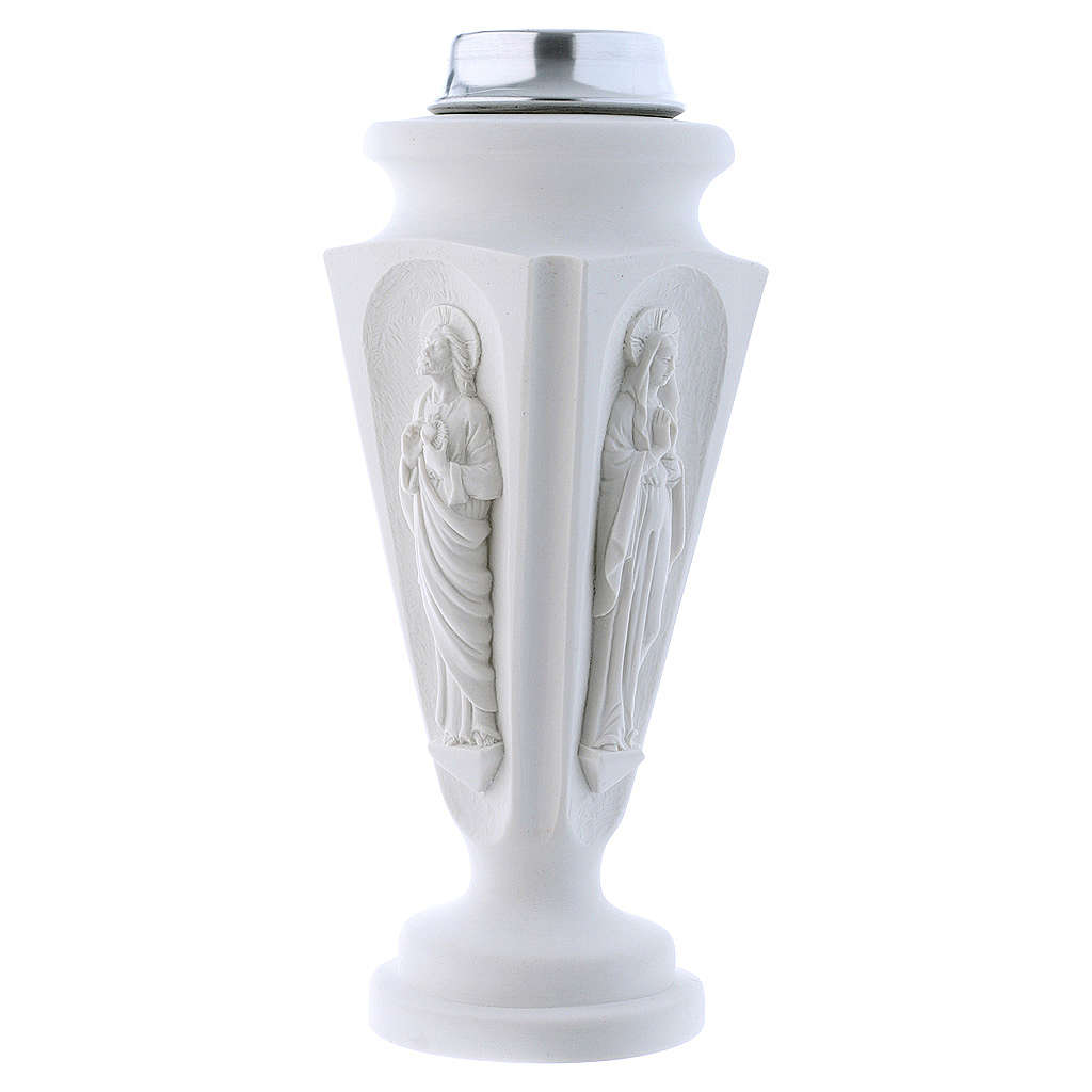 Flower vase in reconstituted marble, Mary and Jesus 3