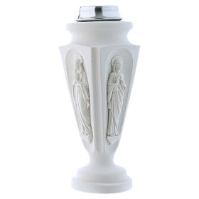 Flower vase in reconstituted marble, Mary and Jesus s1