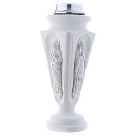 Flower vase in reconstituted marble, Mary and Jesus s2