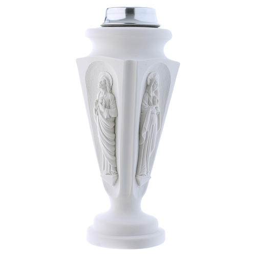 Flower vase in reconstituted marble, Mary and Jesus 2