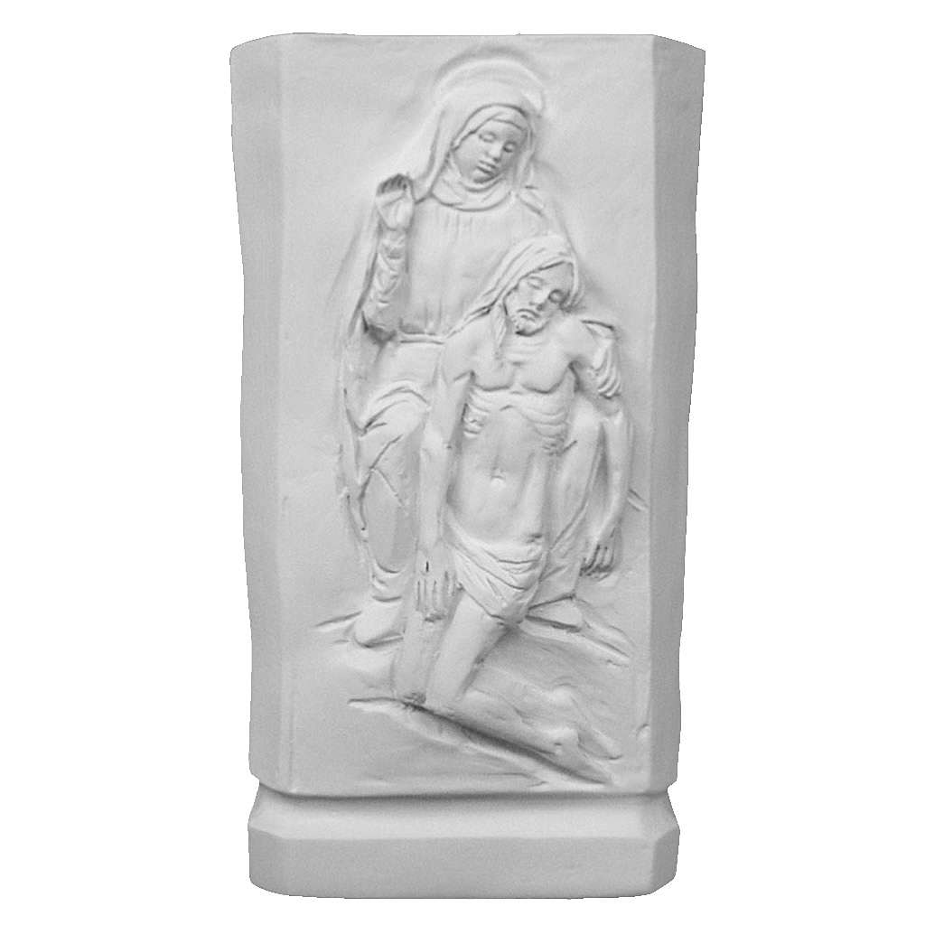 Flower vase in reconstituted marble with Mary and Jesus 3