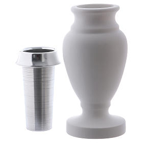 Flower vase in reconstituted white marble s2