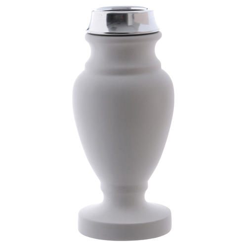 Flower vase in reconstituted white marble 1