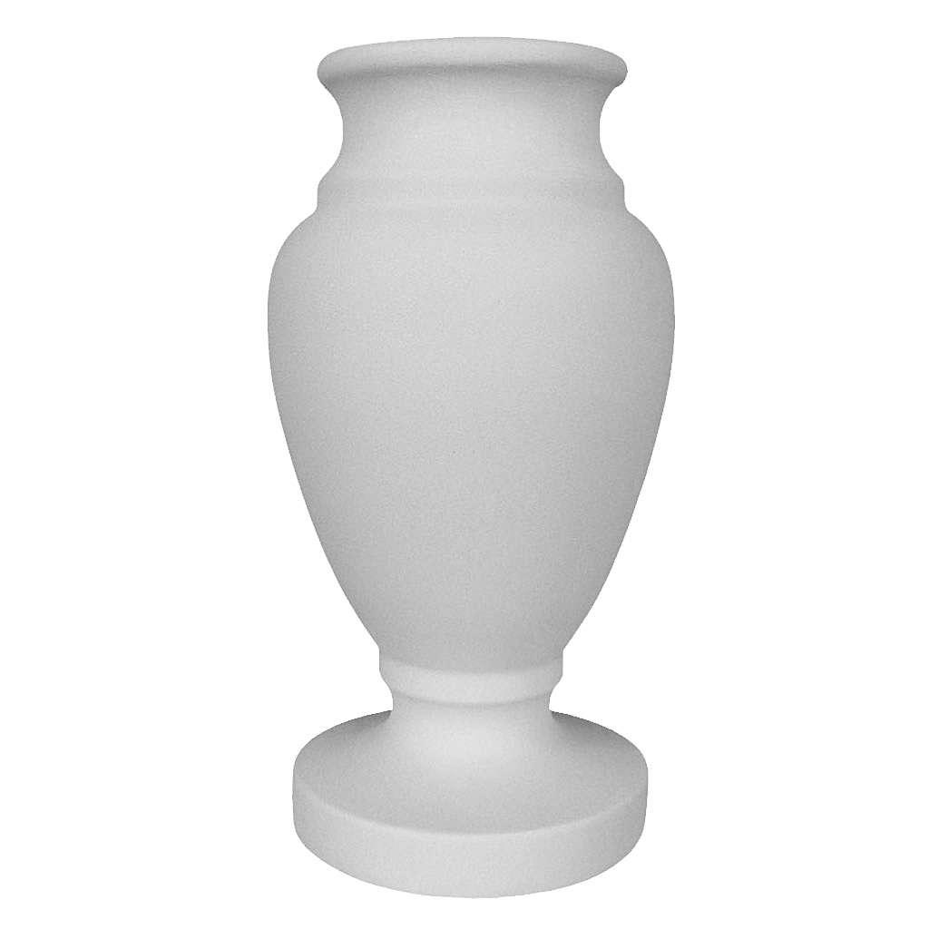 Búcaro Jarrón para cementerio en mármol reconstituido blanco 3