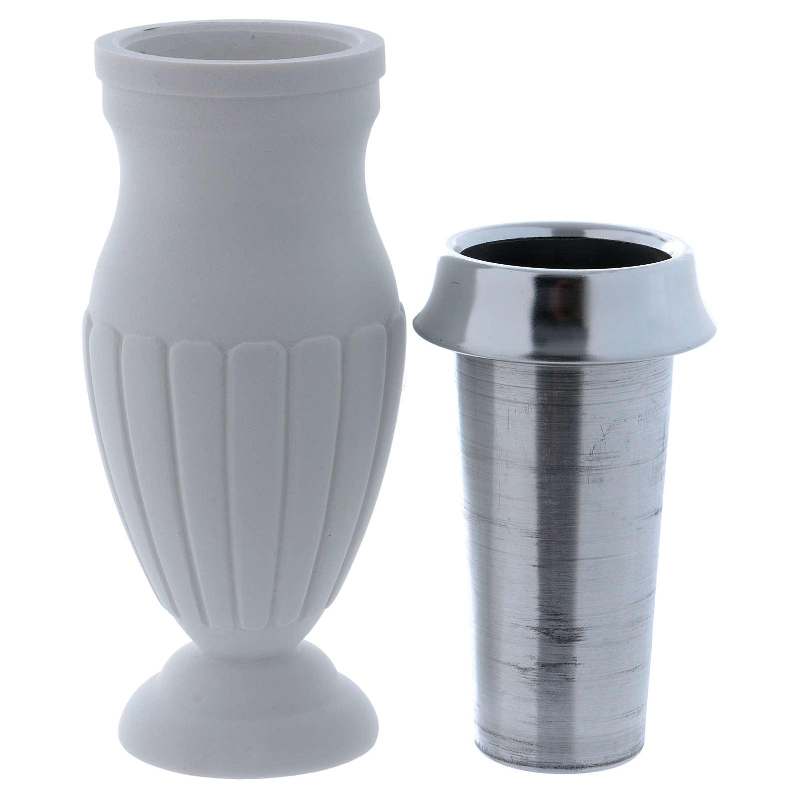 Vaso portafiori a terreno marmo sintetico bianco 3
