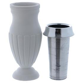 Vaso portafiori a terreno marmo sintetico bianco s2