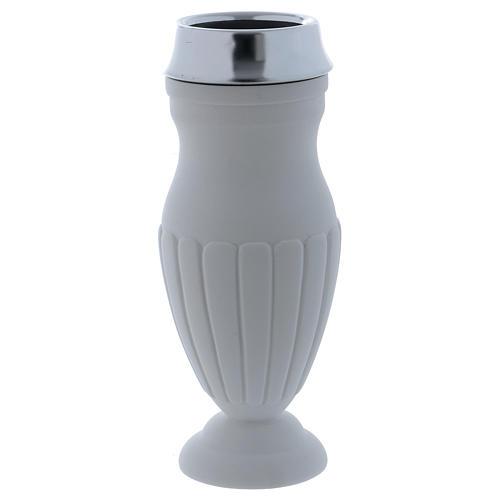 Vaso portafiori a terreno marmo sintetico bianco 1