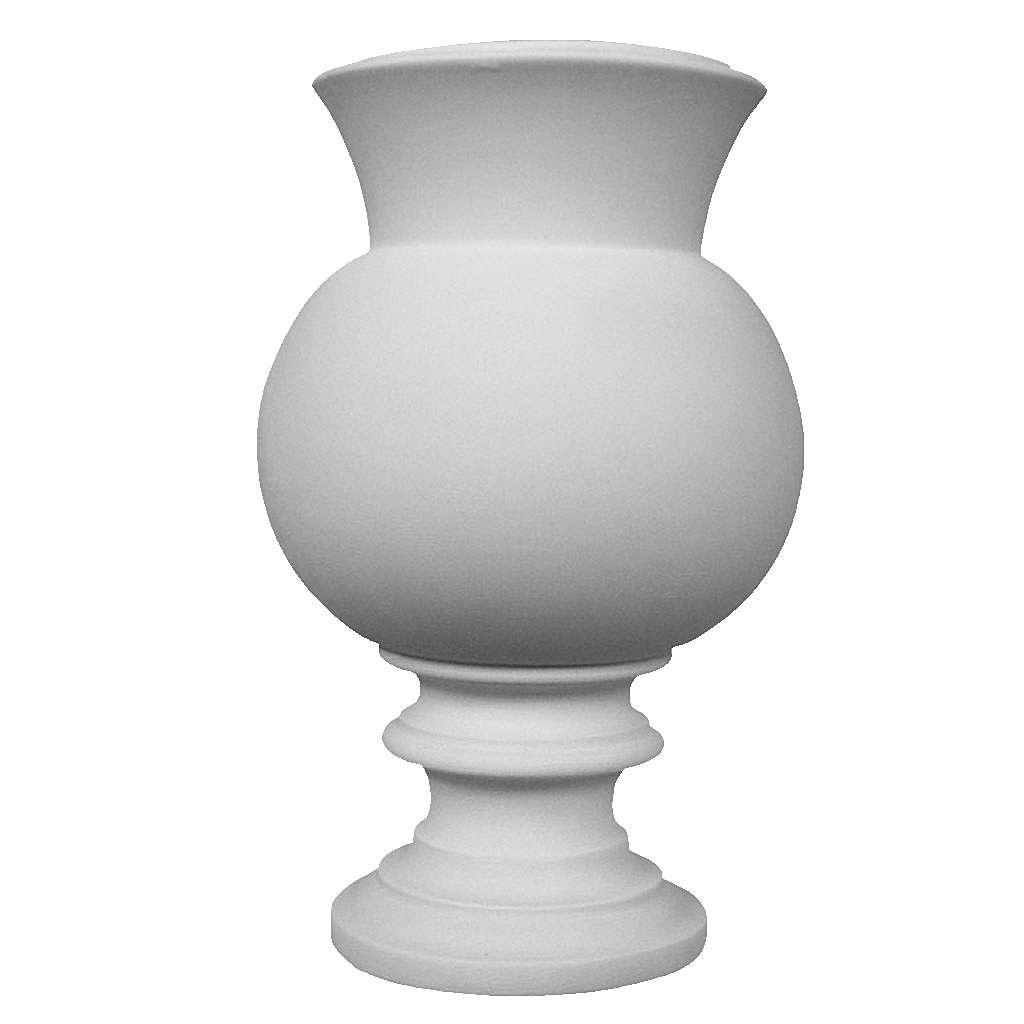 Vase rond pour tombe en marbre synthétique blanc 3